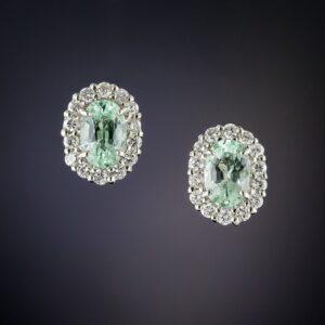 Paraiba Tourmaline Platinum and Diamond Earrings