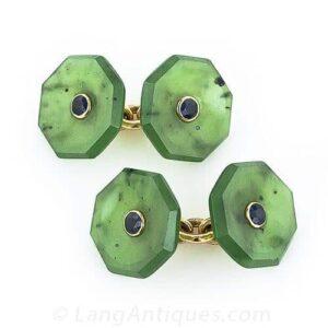 Sulka Nephrite Jade and Sapphire Cufflinks