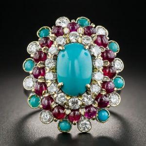 Turquoise Ruby and Diamond Cocktail Ring