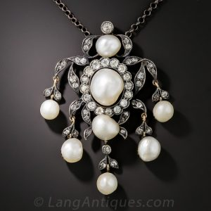 Victorian Natural Pearl and Diamond Necklace