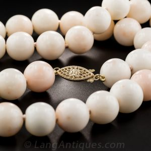 Fish Hook Clasp on Angle Skin Coral Beads.