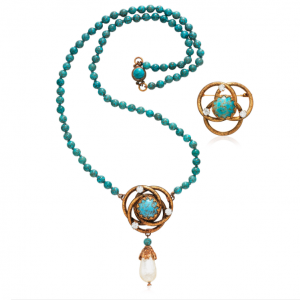 Coco Chanel Faux Pearl, Turquoise and Rhinestone Necklace.
