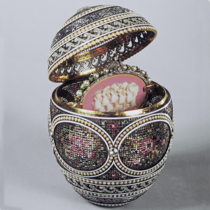Needlework Inspired Easter Egg for Empress Alexandra Feodorovna, 1914. Alma Phil, Designer for Fabergé. Photo Courtesy of The Royal Collection Trust.