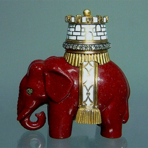 Fabergé Purpurin Elephant with a Tower in Gold, Silver, Enamel and Rose-Cut Diamonds, M. Perkhin Workshop.