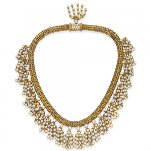 Rene Boivin Retro Diamond and Gold Passementerie Necklace. Photo Courtesy of Christie's.