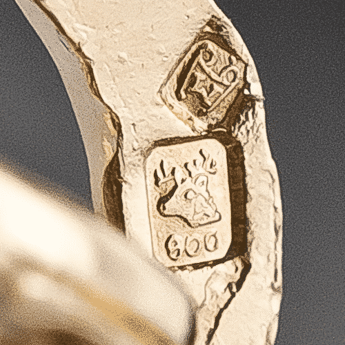 Portuguese Hallmark with Deer and .800 Gold Fineness. This Mark has been Stamped at the Porto Assay Office Since 1985.