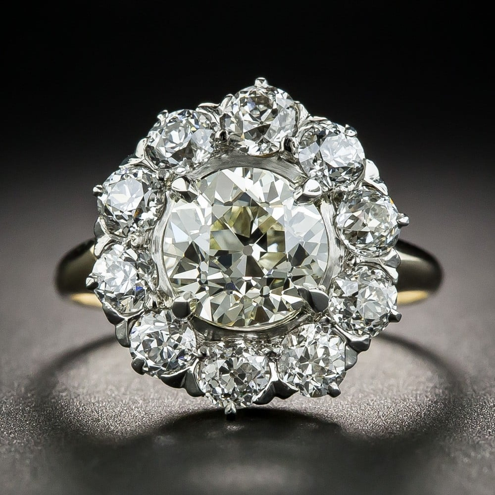 Victorian Cluster Ring with Scintillating Diamonds.