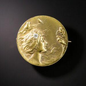 Art Nouveau Pin with High Karat Gold Wash Over 14K Gold