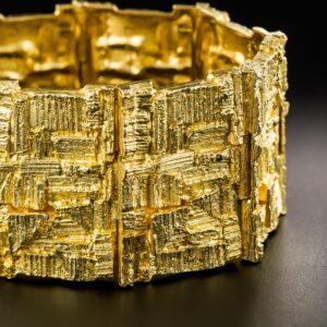 Brutalist 18K Gold Bracelet by Bjorn Weckstrom - Finnish