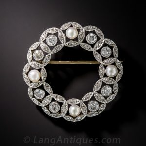 Edwardian Diamond and Natural Pearl Wreath Brooch.
