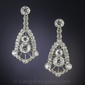 Edwardian Diamond and Platinum Earrings.