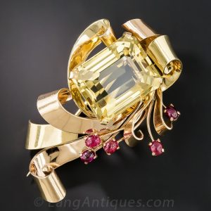 Citrine and Ruby Retro Two-Tone Brooch.