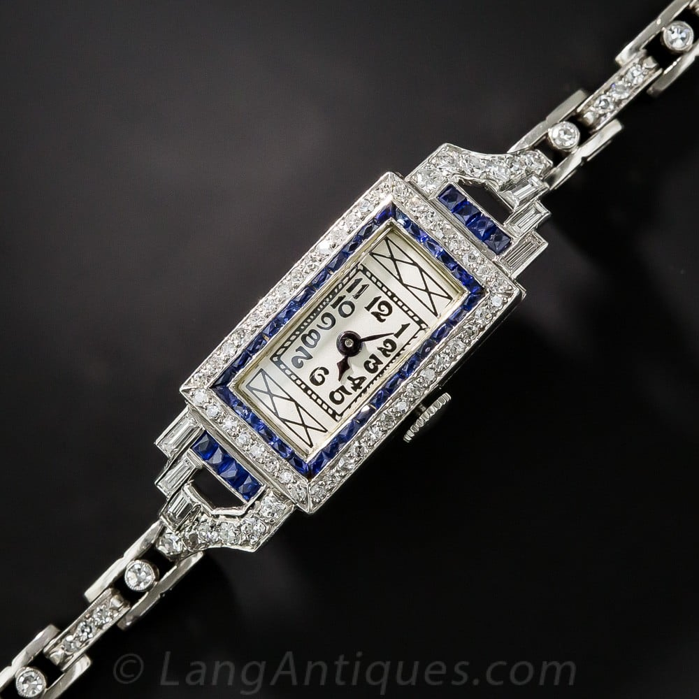 Art Deco Diamond, Sapphire, and Platinum Wristwatch.