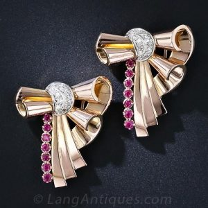 Retro Diamond and Ruby Double Clips