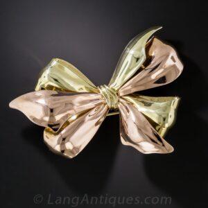 Retro Bi-Color Gold Bow Brooch.