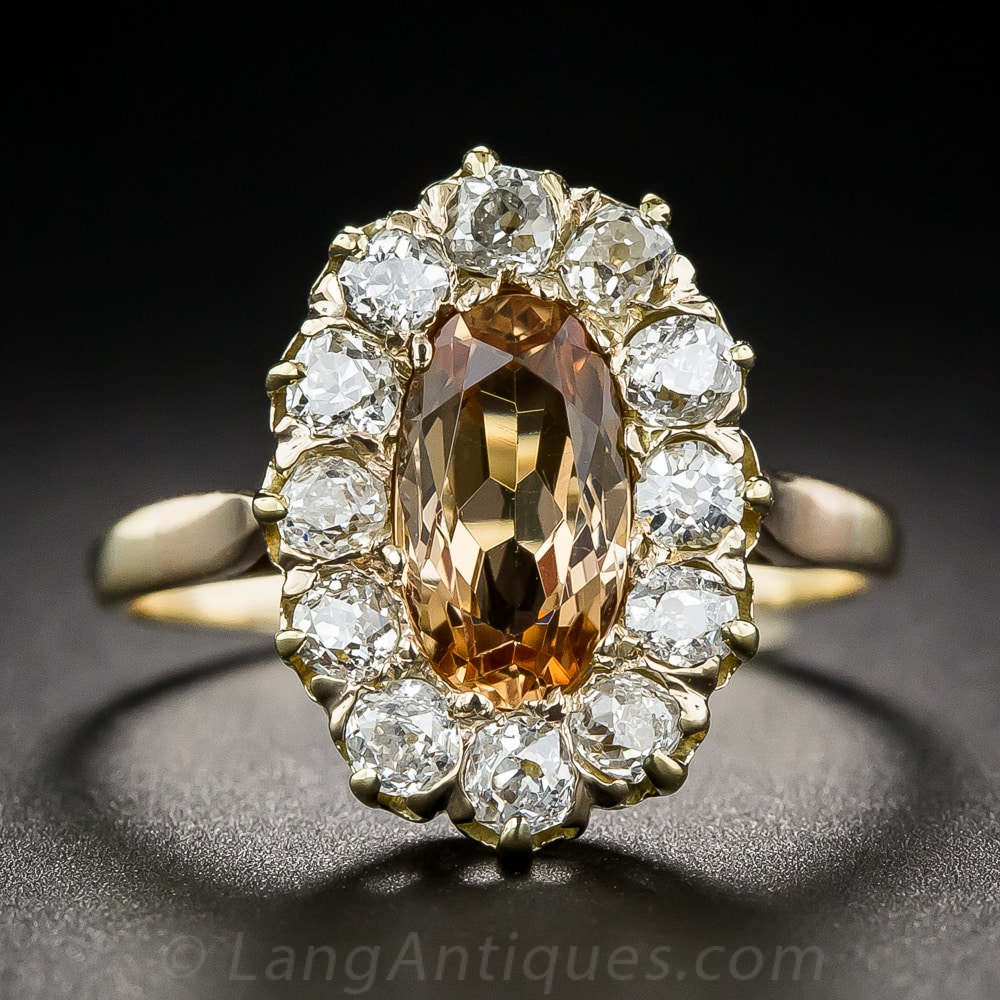 Antique Topaz and Diamond Ring.