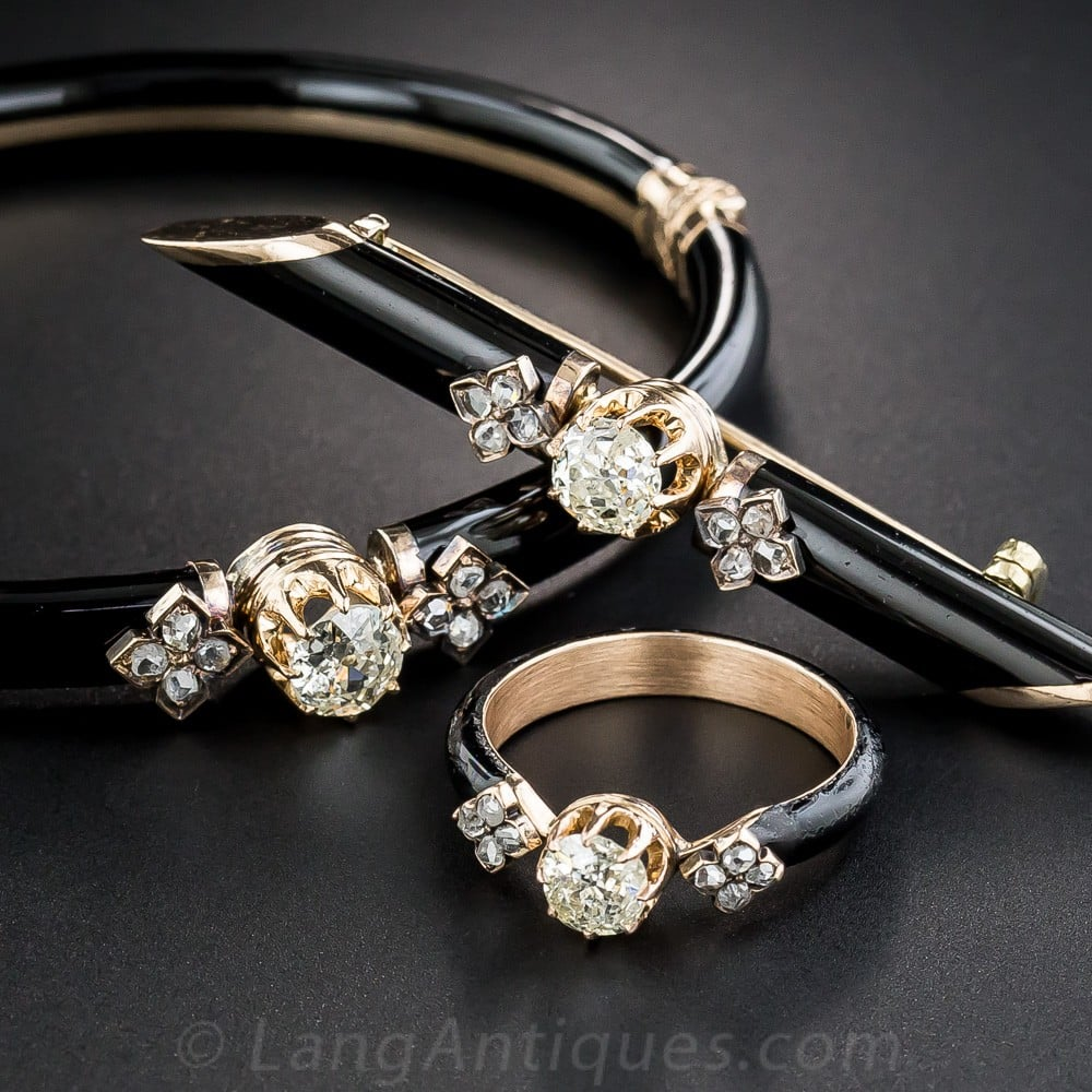 Victorian Diamond and Black Enamel Jewelry Suite.
