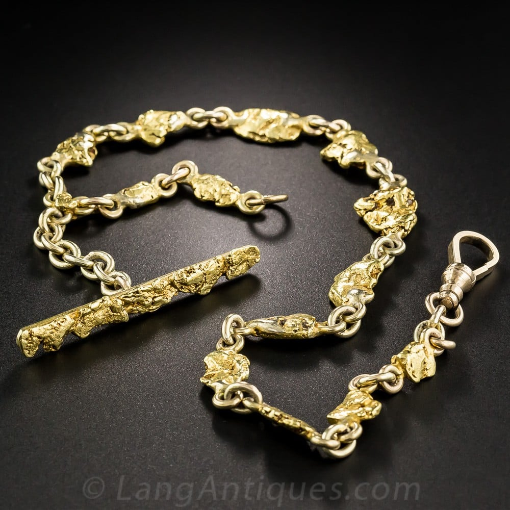Victorian Gold Nugget Watch Chain.