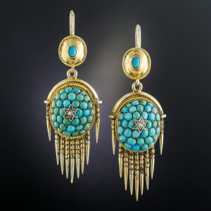 Victorian Turquoise Fringed Earrings.