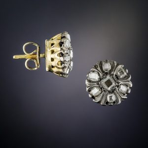 Antique Silver-Topped Gold Diamond Earrings