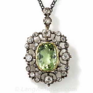 Georgian Green Beryl and Diamond Pendant.