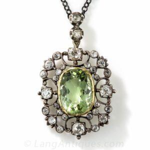 Georgian Green Beryl and Diamond Pendant.