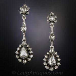 Georgian Rose-Cut Diamond Earrings.