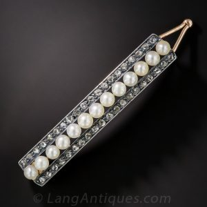 Silver-Topped Gold Diamond & Pearl Barette