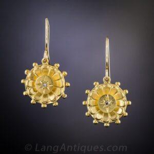 Victorian Diamond Electroformed Gold Earrings