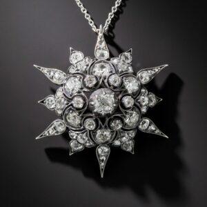 Victorian Diamond Starburst Pendant.