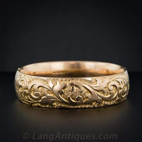 Victorian Rolled-Gold Plated Chased Bangle Bracelet