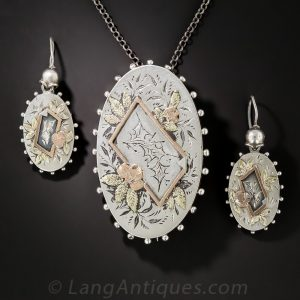 Victorian Silver Pendant/Brooch and Earrings.