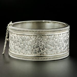 Victorian Silver Engraved Bangle.