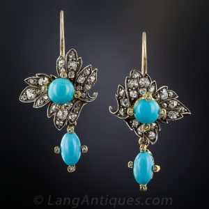 Victorian Turquoise and Diamond Earrings.