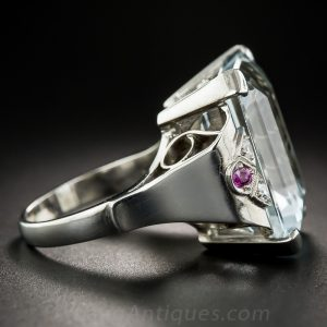 Retro Palladium Aquamarine Ring.