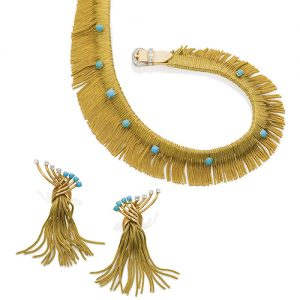 Demi-Parure Turquoise and Gold.
