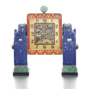 Lapis Lazuli, Marble, Onyx Desk Clock.