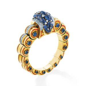 Sapphire, Diamond & Enamel Bangle.