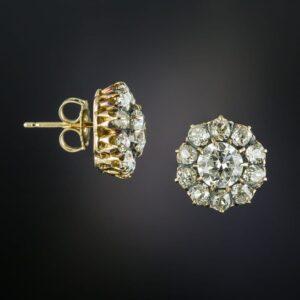 Antique Diamond Cluster Ear Studs.