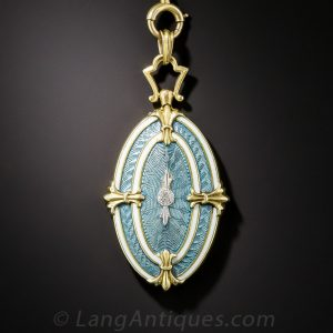Antique Guilloche Enamel Locket and Chain.