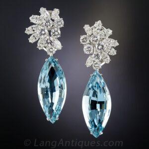 Diamond and Aquamarine Day and Night Earrings.