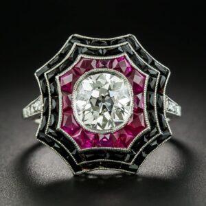 Diamond, Ruby and Black Onyx Calibre Spider Web Ring