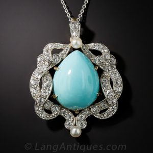 Edwardian Opaque Turquoise and Diamond Pendant.
