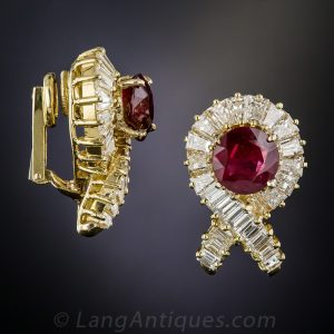 French Ruby and Diamond Earclips.