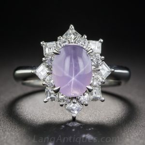 Transparent Star Sapphire and Diamond Ring.
