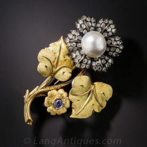Vintage Buccellati Flower Brooch, Circa 1950's