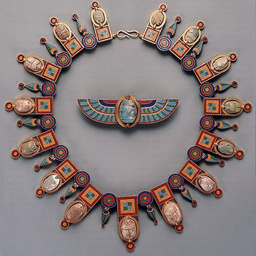 Egyptian Revival Necklace & Brooch, Castellani, c.1860.