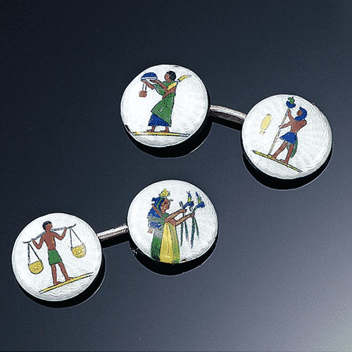 Egyptian Revival Polychrome Enamel Cuff Links. Photo Courtesy of Sotheby's.