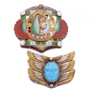 Egyptian Revival Belt Buckles, Piel Frères, c. 1905. Photo Courtesy of Sotheby's.