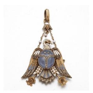 Egyptian Revival Pendant Brooch, Carl Bacher, c.1875. Photo Courtesy of Sotheby's.